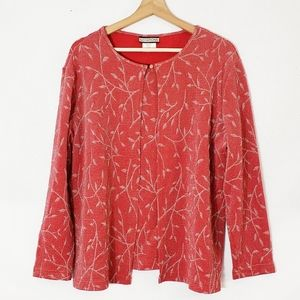 Notations Long Sleeve Cardigan Xlarge Red Silver